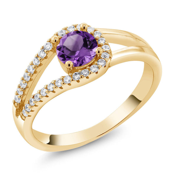 0.80 Ct Round Purple Amethyst 18K Yellow Gold Plated Silver Ring