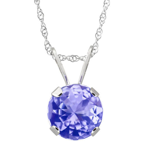VS Round Cut 10K White Gold Tanzanite Pendant with 18