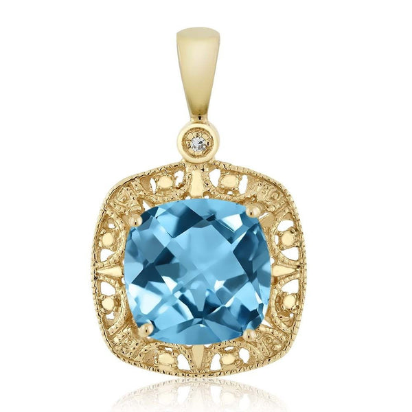 Women's Cushion Swiss Blue Topaz and Diamond 10K Yellow Gold Necklace