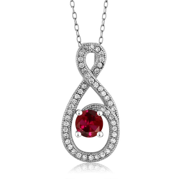 1.20 Ct Round Red Created Ruby 925 Sterling Silver Pendant with 18