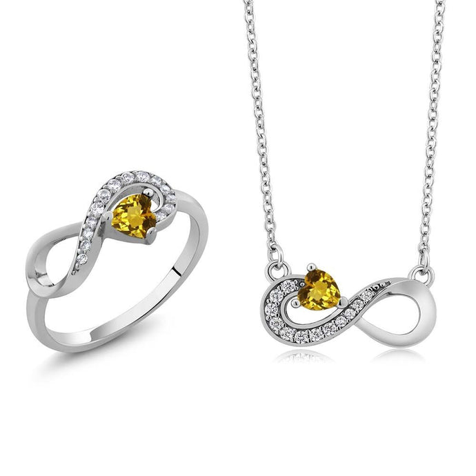 Heart Shape Yellow Citrine 925 Sterling Silver Ring Pendant Set