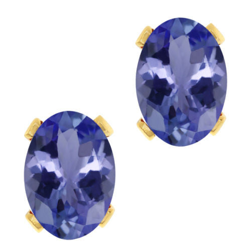 3.10 Ct Oval Blue Tanzanite Gold Plated 4-prong Stud Earrings 8x6mm