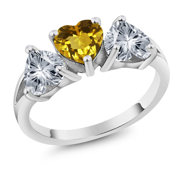 2.18 Ct Yellow 925 Sterling Silver Ring Made With Swarovski Zirconia