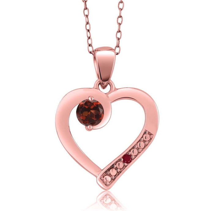 Red Garnet Red Ruby 18K Rose Gold Plated Silver Pendant