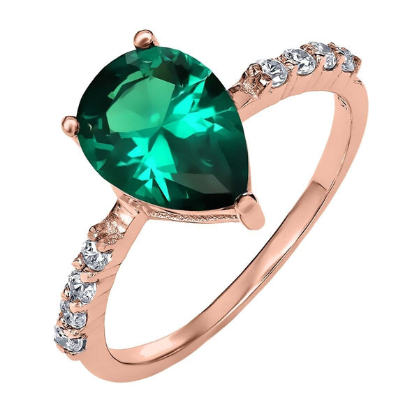 2.80 Ct Pear Shape Green Simulated Emerald 18K Rose Gold Plated Silver Ring