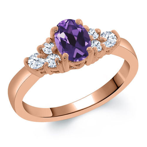 Purple Amethyst White Topaz 925 Rose Gold Plated Silver Ring