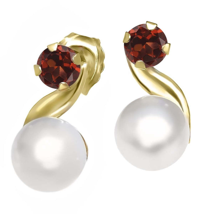 Garnet and Cultured Freshwater Pearl 14K Yellow Gold Earrings