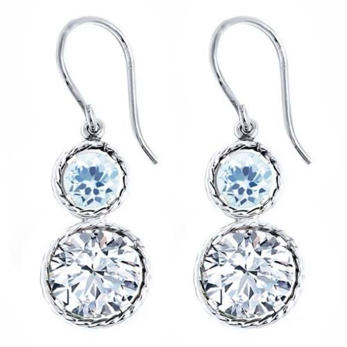 5.40 Ct Round White Zirconia Sky Blue Topaz 925 Sterling Silver Earrings