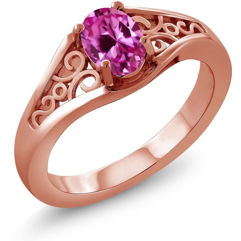 Pink Created Sapphire 18K Rose Gold Plated Silver Ring