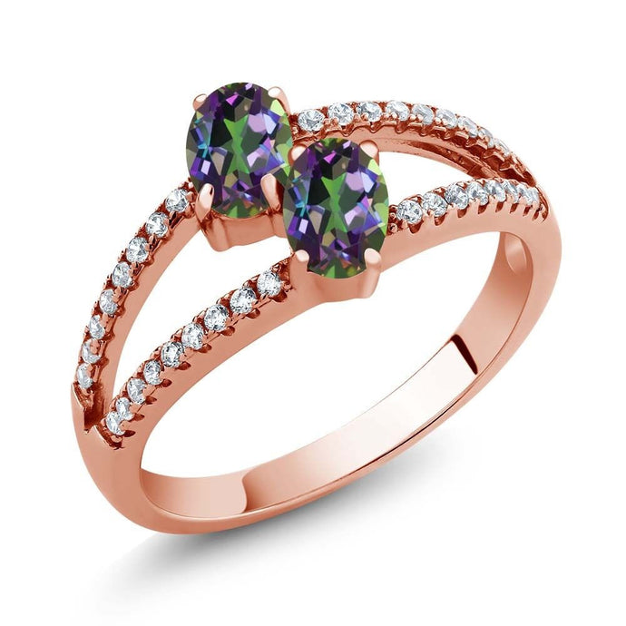 1.41 Ct Oval Green Mystic Topaz Two Stone 18K Rose Gold Plated Silver Ring