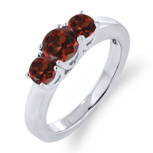 1.29 Ct Round Red Garnet 925 Sterling Silver Ring