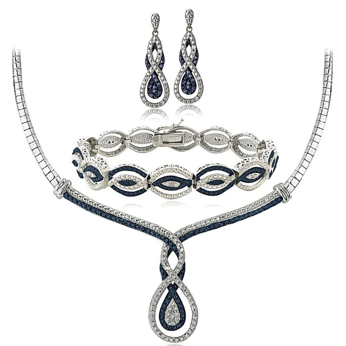 3/4 Ct Blue & White Diamond Infinity Necklace Bracelet Earrings Set in Brass
