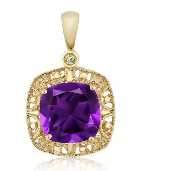 Women's Cushion Purple Amethyst and Diamond 10K Yellow Gold Necklace