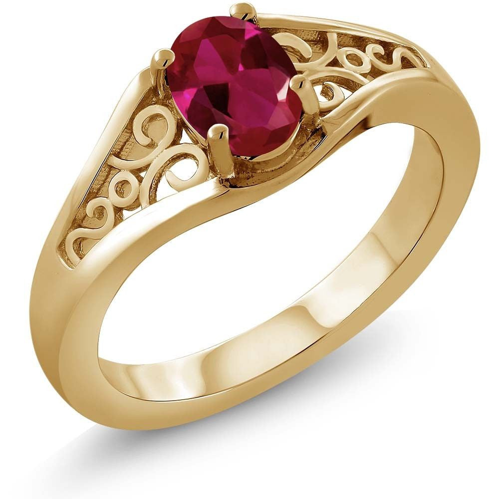 Oval Red Created Ruby 18K Yellow Gold Plated Silver Ring