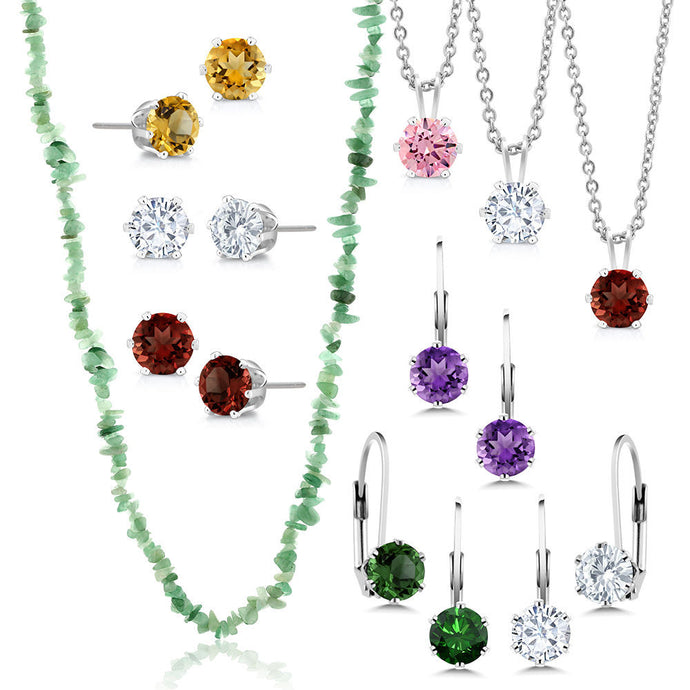 10 Gifts 6 CZ Studs 3 CZ Pendants and 1 Chip Green Necklace