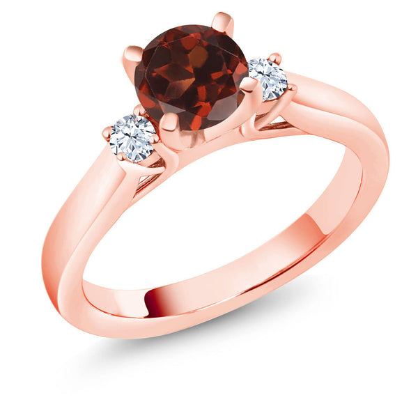 1.26Ct Red Garnet White Created Sapphire 18K Rose Gold Plated Silver 3Stone Ring