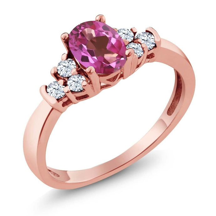 0.82 Ct Oval Pink Mystic Topaz White Topaz 18K Rose Gold Plated Silver Ring