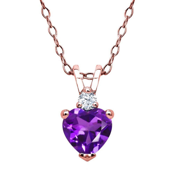 Amethyst White Created Sapphire 18K Rose Gold Plated Silver Pendant