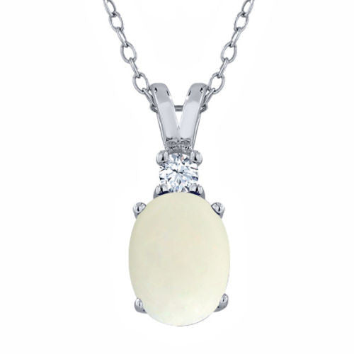 1.10 Ct Oval White Simulated Opal White Created Sapphire 925 Silver Pendant