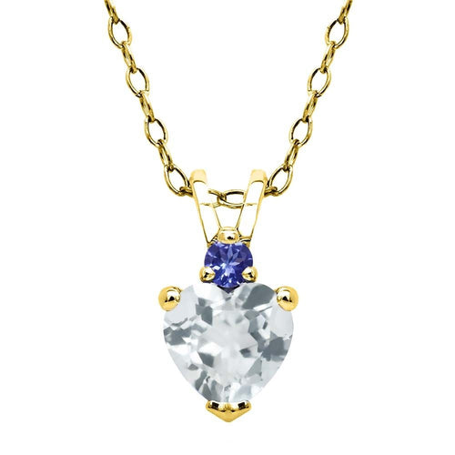 Sky Blue Aquamarine Blue Tanzanite 18K Yellow Gold Plated Silver Pendant