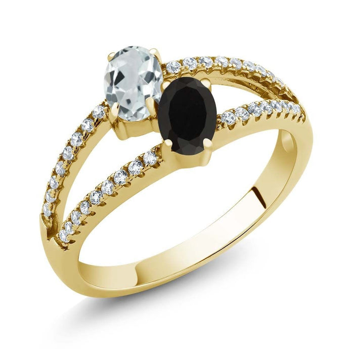 1.23 Ct Aquamarine Black Onyx Two Stone 18K Yellow Gold Plated Silver Ring