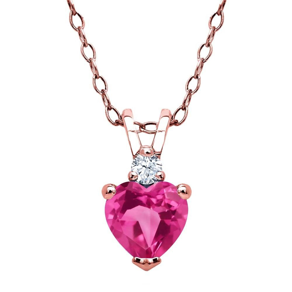 0.64 Ct Pink and White Created Sapphire 18K Rose Gold Plated Silver Pendant