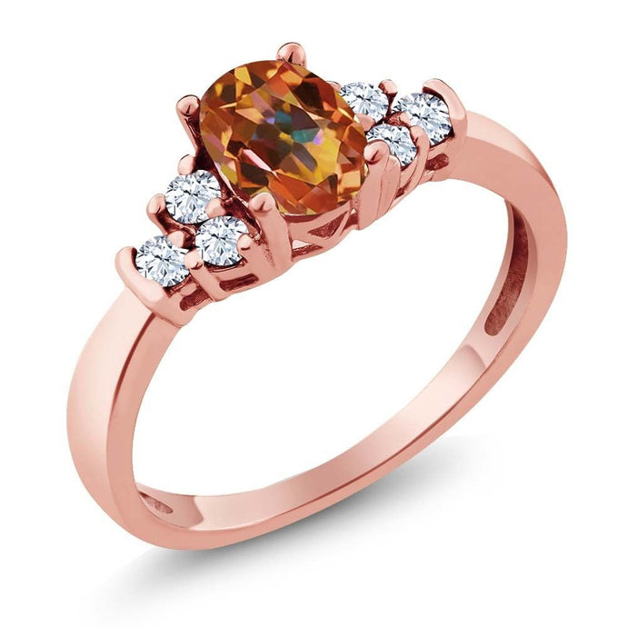 0.82 Ct Oval Ecstasy Mystic Topaz White Topaz 18K Rose Gold Plated Silver Ring