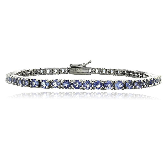 925 Silver 6ct Tanzanite 3mm Round Tennis Bracelet