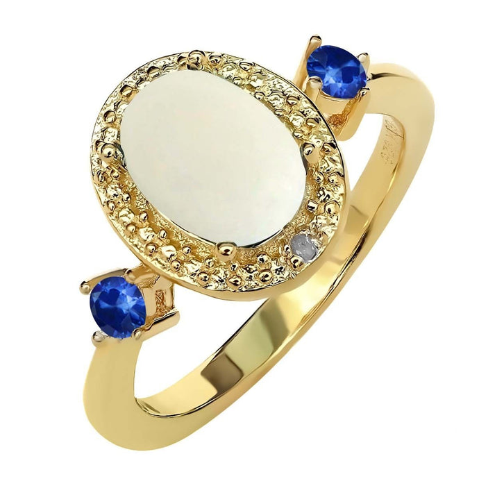 1.22 Ct Cabochon White Opal Blue Sapphire 18K Yellow Gold Plated Silver Ring
