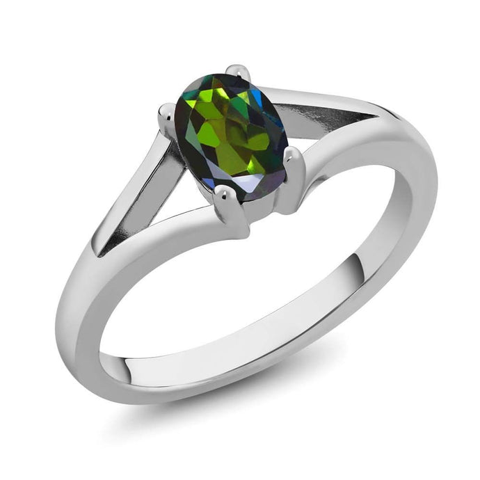 0.80 Ct Oval Forest Green Mystic Topaz 925 Sterling Silver Ring