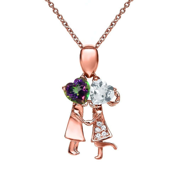 2.03 Ct Green Mystic Topaz and Aquamarine 18K Rose Gold Plated Silver Pendant