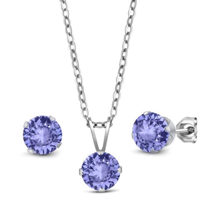 2.40 Ct Blue Tanzanite AAA 925 Sterling Silver Pendant Earrings Set With Chain