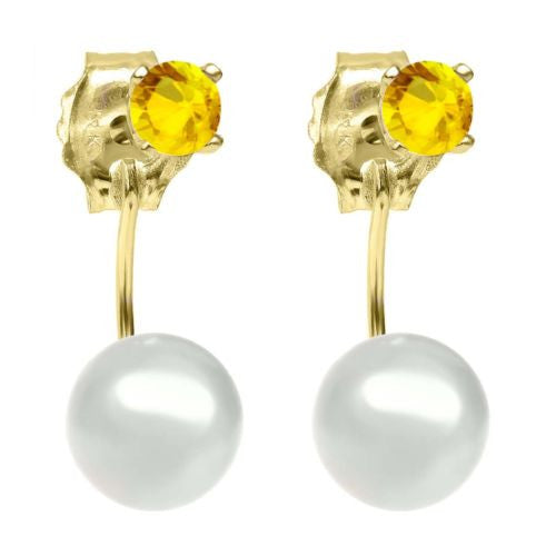 0.26 Ct Round 3mm Yellow Sapphire 14K Yellow Gold Stud Earrings