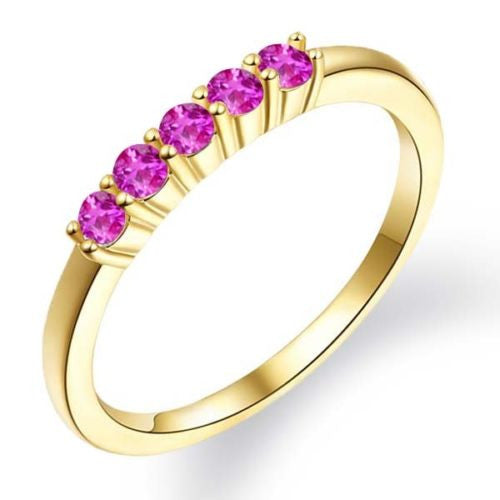 Pink Sapphire 18K Yellow Gold Plated Silver 5-Stone Wedding Band