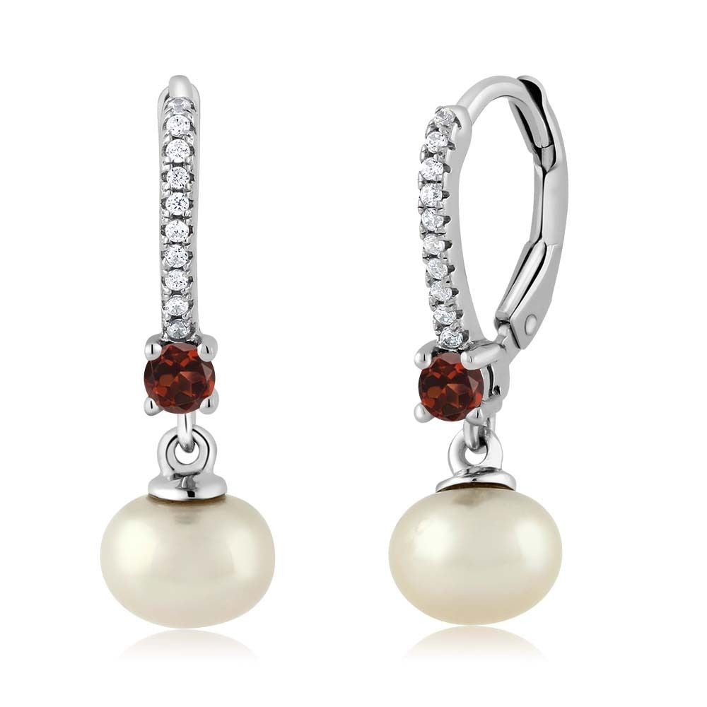 Red Garnet Cultured Freshwater Pearl 925 Sterling Silver Earrings