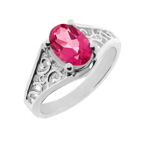 0.95 CT Oval Pink Mystic Topaz 925 Silver Ring