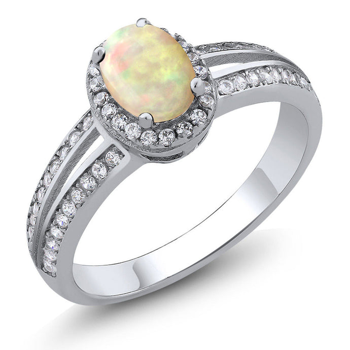 0.92 Ct Oval Cabochon White Ethiopian Opal 925 Sterling Silver Ring