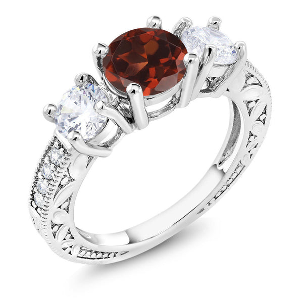 3.16 Ct Round Red Garnet Rhodium Plated 3-Stone Women's Ring