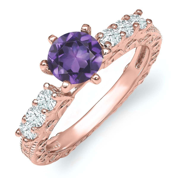 1.05 Ct Round Purple Amethyst 18K Rose Gold Plated Silver Ring
