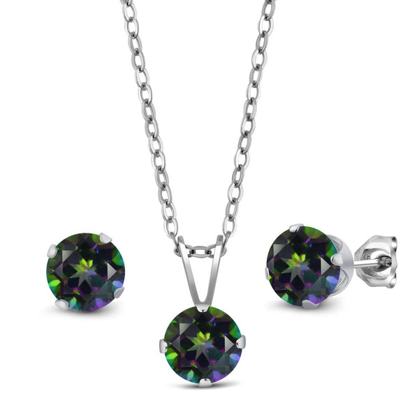 3.00 ct Green Mystic Topaz 925 Sterling Silver Pendant Earrings Set With Chain