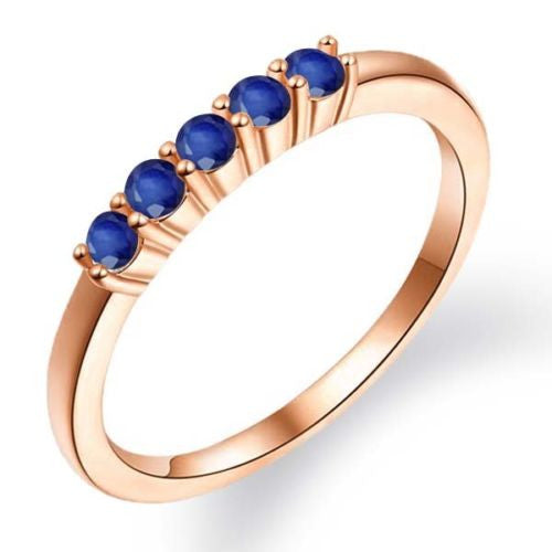 Sapphire 18K Rose Gold Plated Silver 5-Stone Anniversary Wedding Band