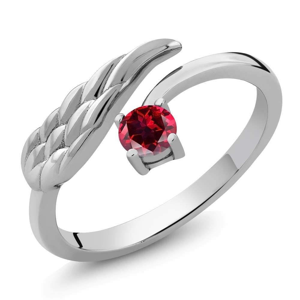 Blazing Red 925 Sterling Silver Wing Ring Natural Topaz Cut by Swarovski