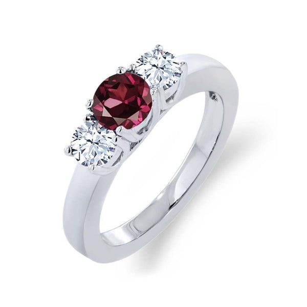 1.26 Ct Round Red Rhodolite Garnet White Topaz 925 Sterling Silver Ring