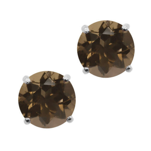 Brown Smoky Quartz 925 Sterling Silver Stud Earrings