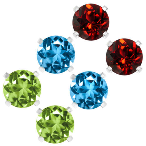 Set Of 3 Round 6mm Natural Topaz Peridot & Garnet Sterling Silver Stud Earrings