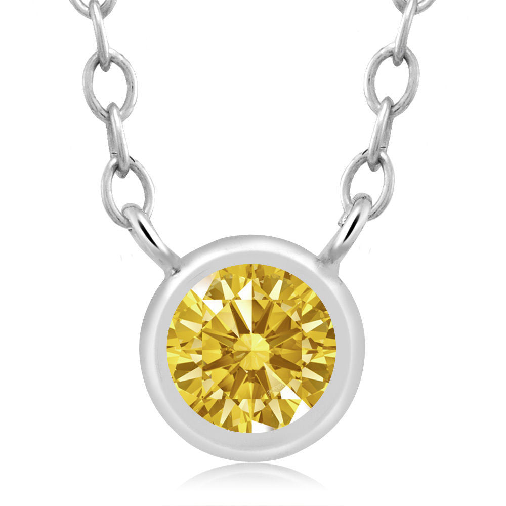 Golden Yellow 925 Sterling Silver Pendant Made With Swarovski Zirconia