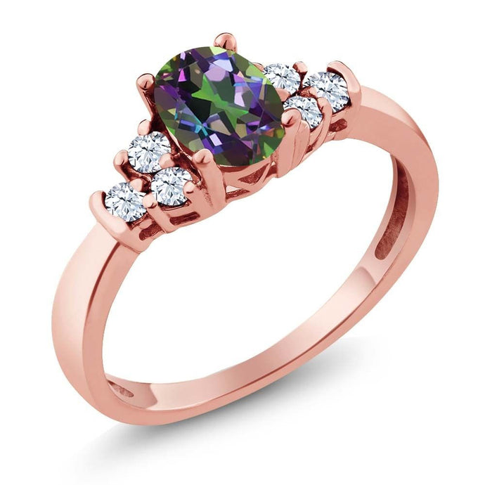 0.82 Ct Oval Green Mystic Topaz White Topaz 18K Rose Gold Plated Silver Ring