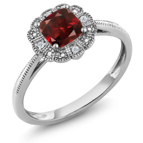 0.73 Ct Cushion Red Garnet 10K White Gold Ring