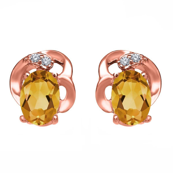 0.85 Ct Oval Yellow Citrine 18K Rose Gold Plated Silver Earrings