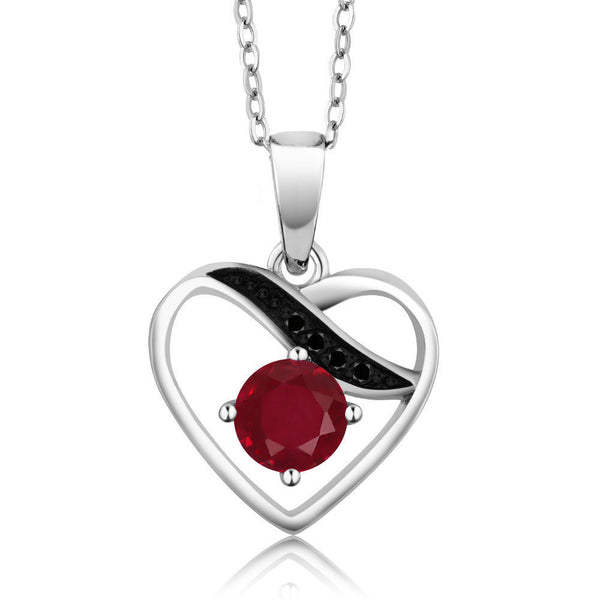 Red Ruby Black Diamond Rhodium Plated Pendant